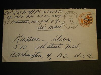 APO 69 BREMERHAVEN, GERMANY 1947 Army Cover BPE OFFICER's MAIL