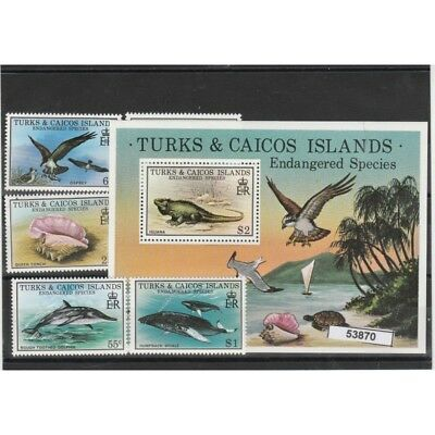 Turks And Caicos Islands 1979 Wildlife Animals In Pericolo 5 Val+Bf Mnh Mf53870