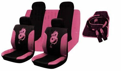 Universal Pink Dragon Car Seat Covers Full Set With Matching Mats + Accessories