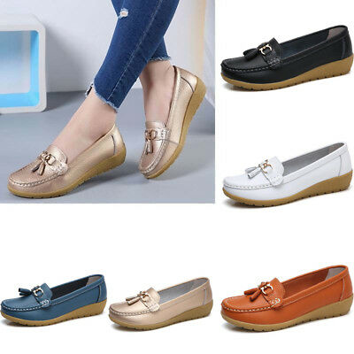 Womens Driving Loafers Moccasin Oxford Casual Soft Shoes Flat Lazy Peas Slip On