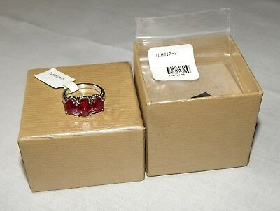 JTV ILH017 5.04ctw Lab-Created Ruby Sterling Silver 3-Stone Ring - Size 7 NEW