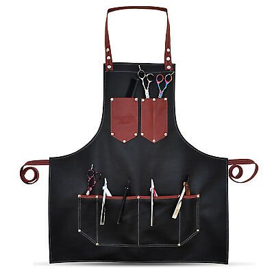 Professional Leather Hairdressing Barber Apron Cape Barber Hairstylist BLACK