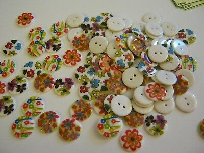 HA10685 Packet of 20 x Turquoise Resin 20mm Round Buttons - Charming Beads 4 Hole -