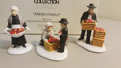 Dept 56 New England Village Series 1990 AMISH FAMILY 3 Piece Accessory Retired