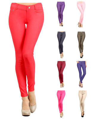 ffabc5ebf1740 Women's Pull-On Jeggings - Cotton Blend - Denim Look Solid Color by Belle  Donne