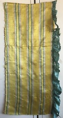 Antique Beautiful 18th C. French Silk Woven Stripe Fabric  (2388)