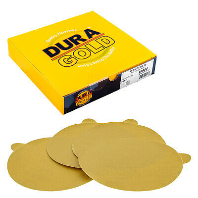 "220 Grit 6"" Gold PSA Self Adhesive Sanding Discs for DA Sanders - Box of 50"