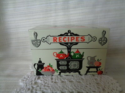Vintage Stylecraft No. 805 Metal Recipe Card Holder Box w/Stove Graphic