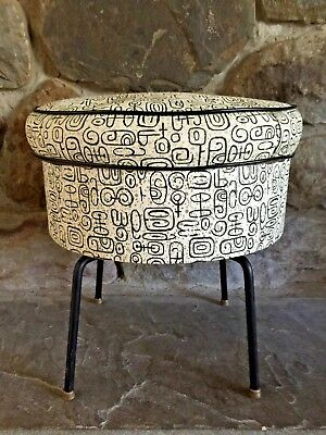Vintage Atomic 60's Mid Century Revolving Round Footstool~Ottoman w Compartment