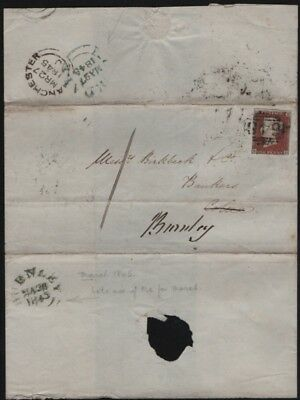 1845 redirected letter, postmark BURNLEY (late use), 1d red imperforate S L