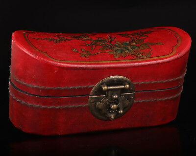 Old Red Leather Flower Bird Yuan Treasure Box Wedding Gift Collectable