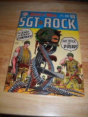 Our Army At War # 202 1969 Dc War Comic  Sgt. Rock Is Dead Fine Condition