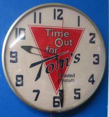 Vintage Pam Lighted Advertising TOM'S TOASTED PEANUTS Clock