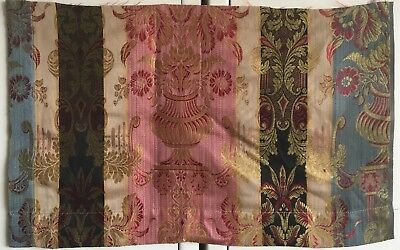 Beautiful 19th C. French Rayon, Silk and Cotton Woven Striped Fabric   (2392)