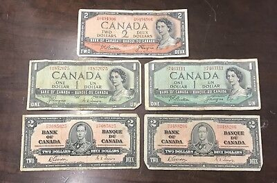 Lot of 5 Canada Banknotes: (2) 1937 $2 Two Dollars, (2) 1954 $1, (1) 1954 $2