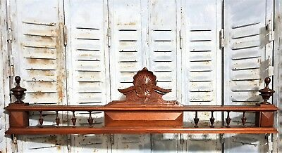ARCHITECTURAL SALVAGE PEDIMENT Antique french wood carving spindle finial crest