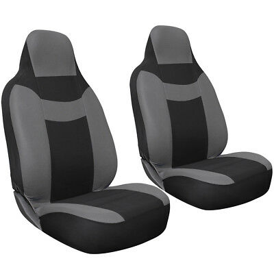 2pc Set Gray Black Integrated High Back Sports Front Bucket Auto Seat Covers