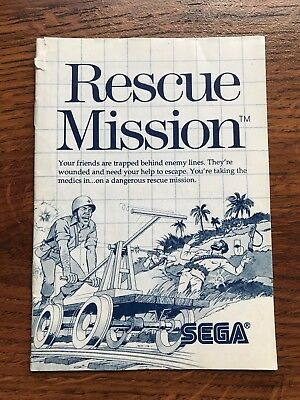 Rescue Mission Sega Master System Genesis Game Instruction Manual Only