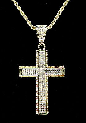 """Cross Pendant 14k Gold Plated Cz 24"""" Rope Chain Hip Hop Necklace"""