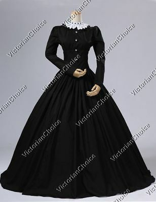 Victorian Maid Steampunk Black Witch Dress Cosplay Gown Halloween Clothing 316