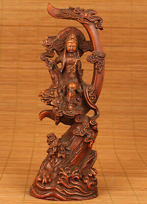 big Antique Chinese Old Boxwood Hand-Carved Moon Kwan-yin Statue Figure