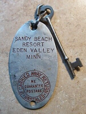 Antique Metal Resort Hotel Key Tag With Key Eden Valley Minn Mn