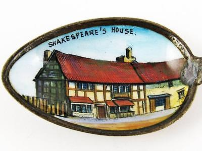 Antique Shakespeare's House, Stratford-Upon-Avon Sterling Silver & Enamel Spoon