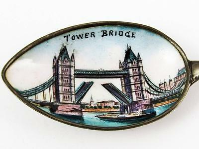 Antique Tower Bridge, London, England Sterling Silver & Enamel Souvenir Spoon