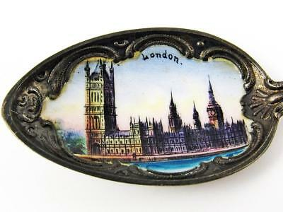 Antique Palace Of Westminster, London, England Sterling Silver & Enamel Spoon