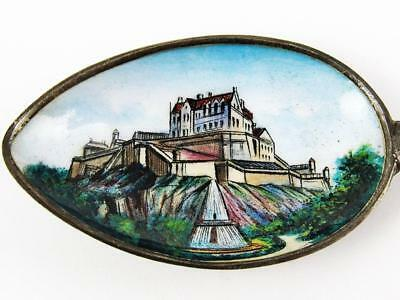 Antique Edinburgh Castle, Scotland Sterling Silver & Enamel Souvenir Spoon