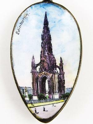 Antique Scott Monument, Edinburgh, Scotland Sterling Silver & Enamel Spoon