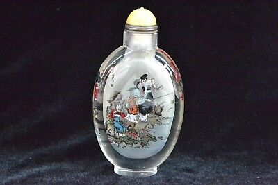 chinese Collectible Old glass Handwork inside Paint elegant figure Snuff Bottle