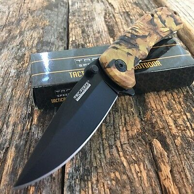 "8"" TAC FORCE SPRING ASSISTED KNIFE Camo Tactical Folding EDC POCKET Blade -F"