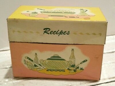 Vintage Metal Box full of Cooking Baking Recipes Cookies Desserts Variety bake