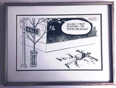 Doug Marlette Signed 1989 Ink Drawing New York Newsday Editorial Cartoon 11x17