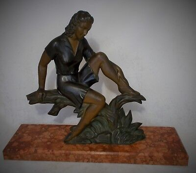 Original Large French Art Deco Spelter And Marble Figurine Great Condition