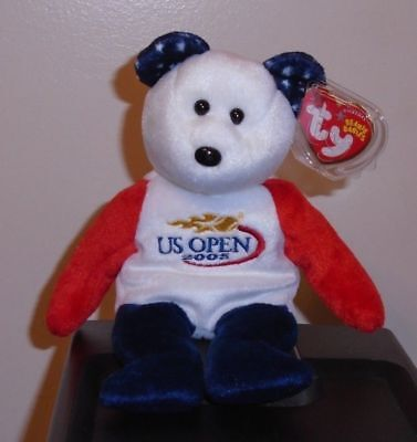 Ty Beanie Baby ~ SMASH the US OPEN Tennis Bear ~ NEW MWMT