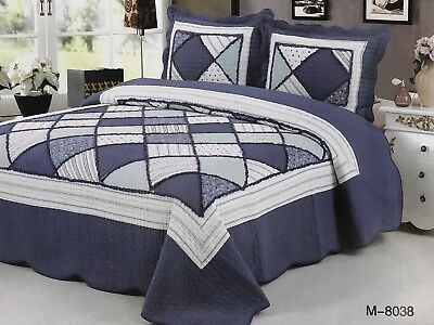 100% Cotton Coverlet / Bedspread Set Queen &  King Size Bed 230x250cm..