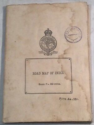 "Collectable Vintage ""Road Map Of India"" Scale 1"":50 miles, 6th edition 1945"