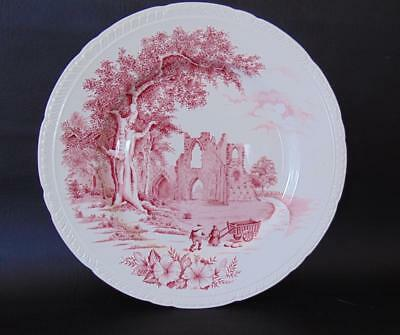 Waltham RED OLD ABBEY SCENE Dinner Plate Barker Bros Ltd