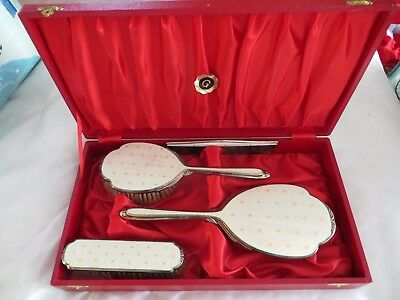 Beautiful Cased, Solid Silver & Guilloche Enamel Dressing Table Set, 1966