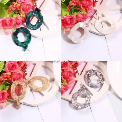Women Marble Effect Acrylic Circle Big Statement Hoop Earrings N4U8