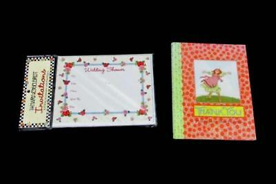 Lot of 2 Mary Engelbreit 10 Fill In Wedding Shower Invites Thank You Book