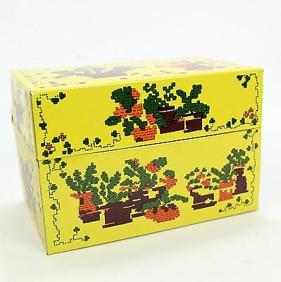 Cactus Design Vintage Tin Recipe Box File Box 3X5 Index Cards - Mid Century Mod