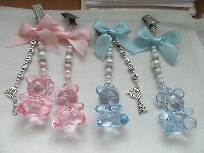 Baby Personalised Handcrafted Swarovski Elements Clip On Teddy Bear Pram Charms