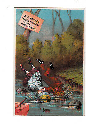 A S Cowles Groceries Provisions Charlestown Falling into Creek Vict Card c1880s