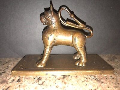 Vintage Copy Of An Old European Medieval Aquamanile Bronze Sculpture Paperweight