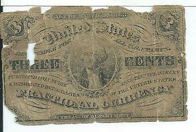 1863 3rd Issue 3 Cents United States Fractional Currency Fr1226 Civil War