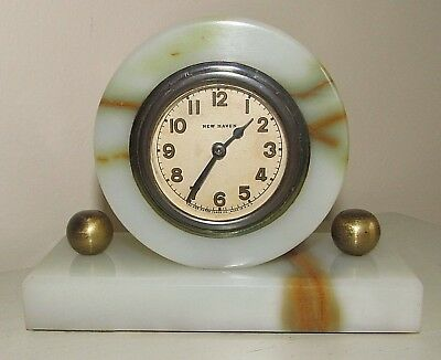 Antique Art Deco Working New Haven Marble Table Top Clock USA Made