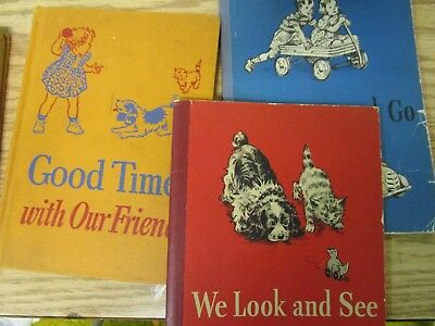 Lot of 3 Antique Dick and Jane Books, Vintage, 1940s, Fair/Good